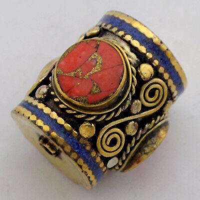 Coral Lapis Brass Focal Beads Tibetan Nepalese Handmade Tibet Nepal UB2581