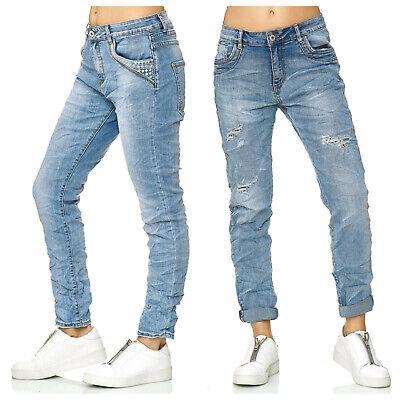Damen Jeans Baggy Denim Stickerein Pailetten Leopard Übergröße Big Size Karostar Denim Baggy Jeans