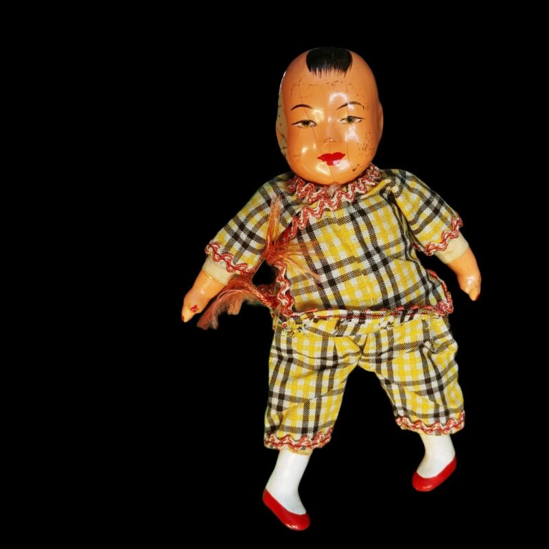 """Vintage Composition & Cloth Chinese Doll Boy Plaid  5.5"""" Tall"""
