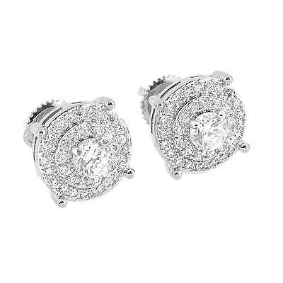 Mens Prong Set Earrings Round Cut Simulated Diamonds Rhodium Tone Screw Back Cut Earrings Set