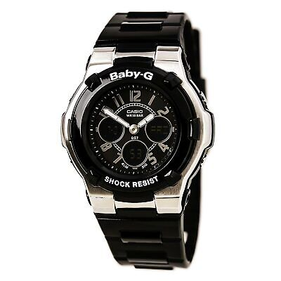 Casio BGA110-1B2 Women's Baby-G Ana-Digi Black Resin World Timer Alarm Watch