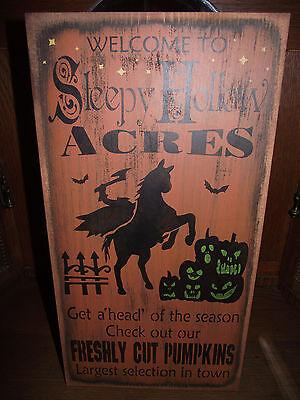 WELCOME TO SLEEPY HOLLOW ACRES    primitive wood sign halloween](Halloween Welcome Sign)