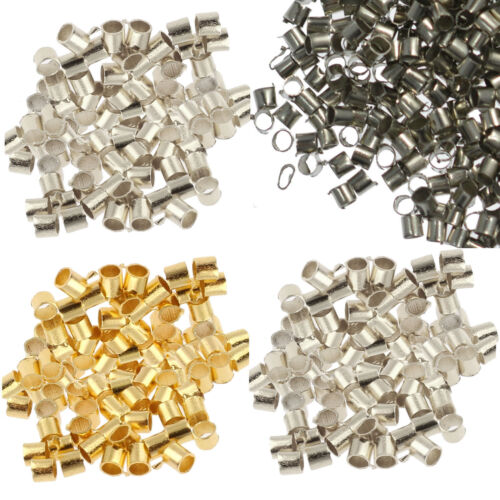 500pcs Metal Crimps Stopper End Beads Silver Gold