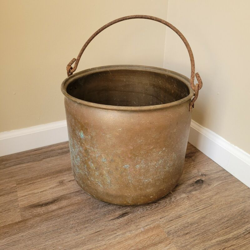 Vintage Primitive Large Hearth Kettle Brass with Handle Rustic Decor