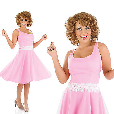 Dirty Dancing Kostüm (Ladies Pink Baby Fancy Dress Costume Dirty Dancing 80S Outfit UK 8-30)