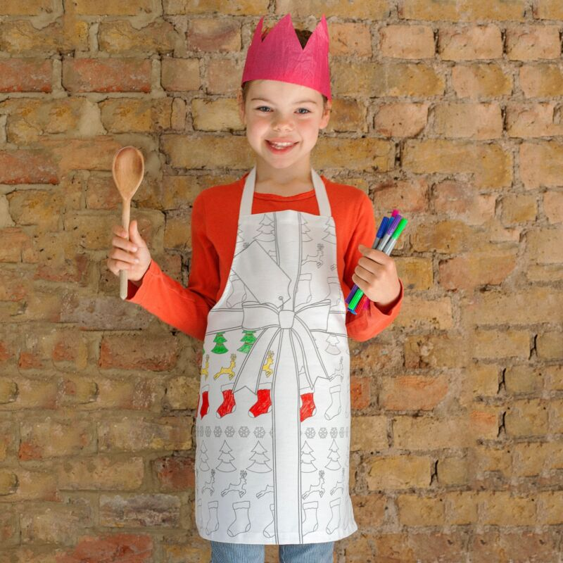 Personalised+kid%27s+christmas+apron+inc.10+fabric+pens%21+Doodle+on+%26+wash+off