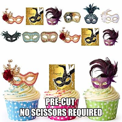 PRE-CUT Masquerade Ball Party Pack 36 Edible Cupcake Toppers Vintage Eye Masks