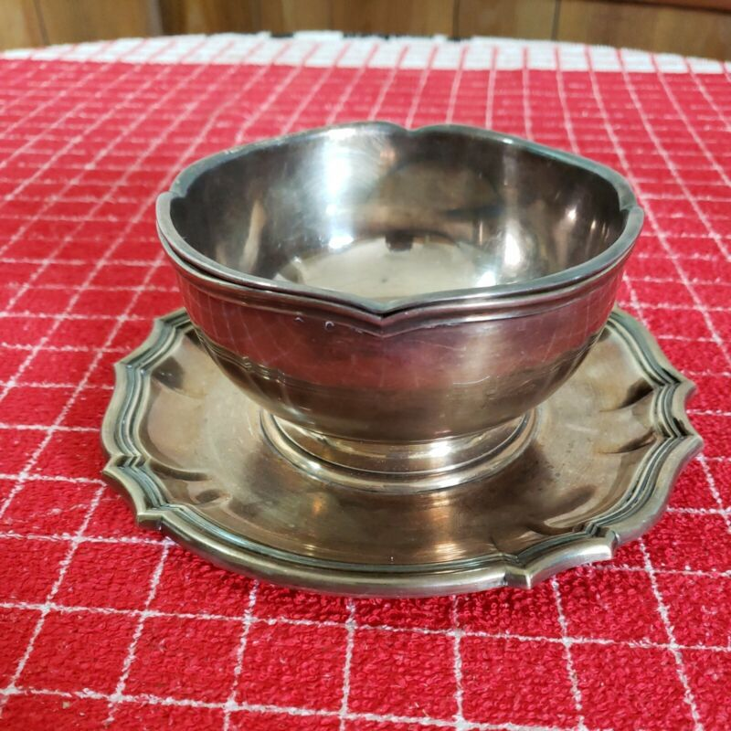 Puiforcat France Antique Silver Plated Bowl With Attached Underplate and Insert