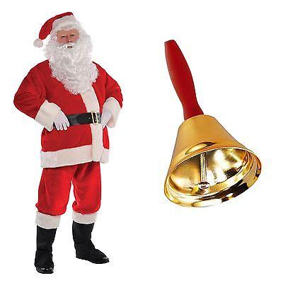 Mens Deluxe Plush Santa Suit Father Christmas Fancy Dress Costume with Gold - Santa Suit Sale