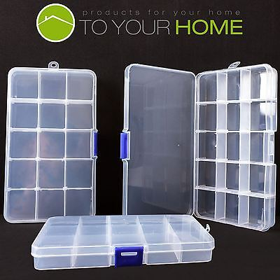 3x 15 Compartment Plastic Storage Box Jewellery Earring Beads Case Container