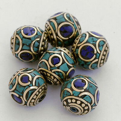 Turquoise Lapis Brass 6 Beads Nepalese Tibetan Handmade Tibet Nepal UB2465A