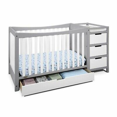 Graco Remi 4 in 1 Convertible Baby Crib and Changer Combo w Storage Drawers