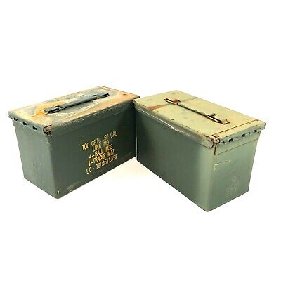 USGI .50 Cal 100 Round Ammo Can, US Military Metal Ammunition Box, 2 PACK DEFECT