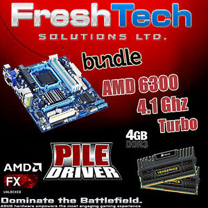 AMD 6300 FX 4.1Ghz 4GB DDR3 1600mhz Corsair Gigabyte 78LMT Motherboard Bundle