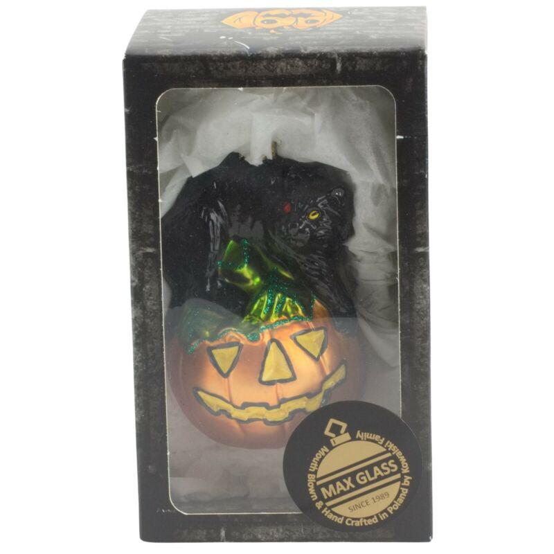 Max Glass Black Cat Sitting on Pumpkin Halloween Ornament Mouth Blown Poland