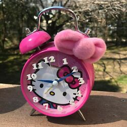 Pink Hello Kitty Pink Alarm Clock Double Bell Sanrio 1975/ 2011 White Numbers