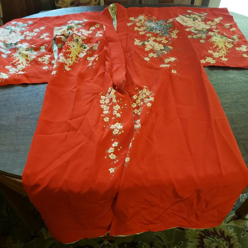 VINTAGE MADE IN Japan Red Floral SILK Long KIMONO