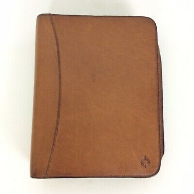 Franklin Covey Riverwood Planner Brown Distressed Genuine Leather Classic Binder