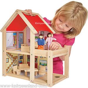 Eichhorn Puppenhaus Holz Puppenstube mit Puppen und Möbeln Puppenmöbel Simba