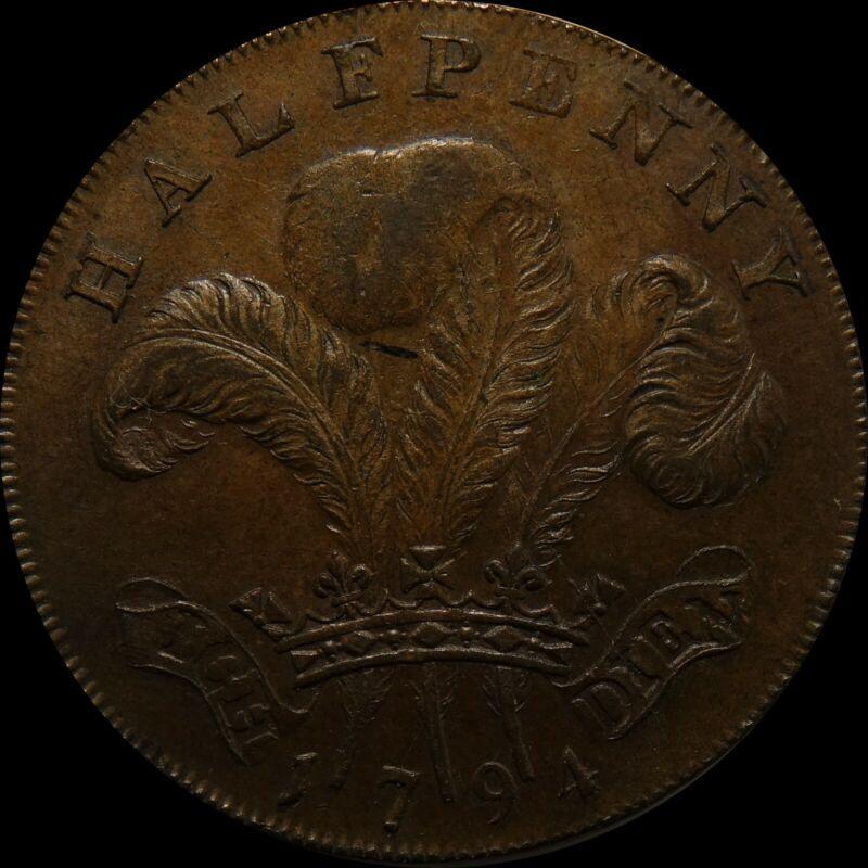 1794 UK Token Conder 1/2 Penny Half penny Prince of Wales nice condition