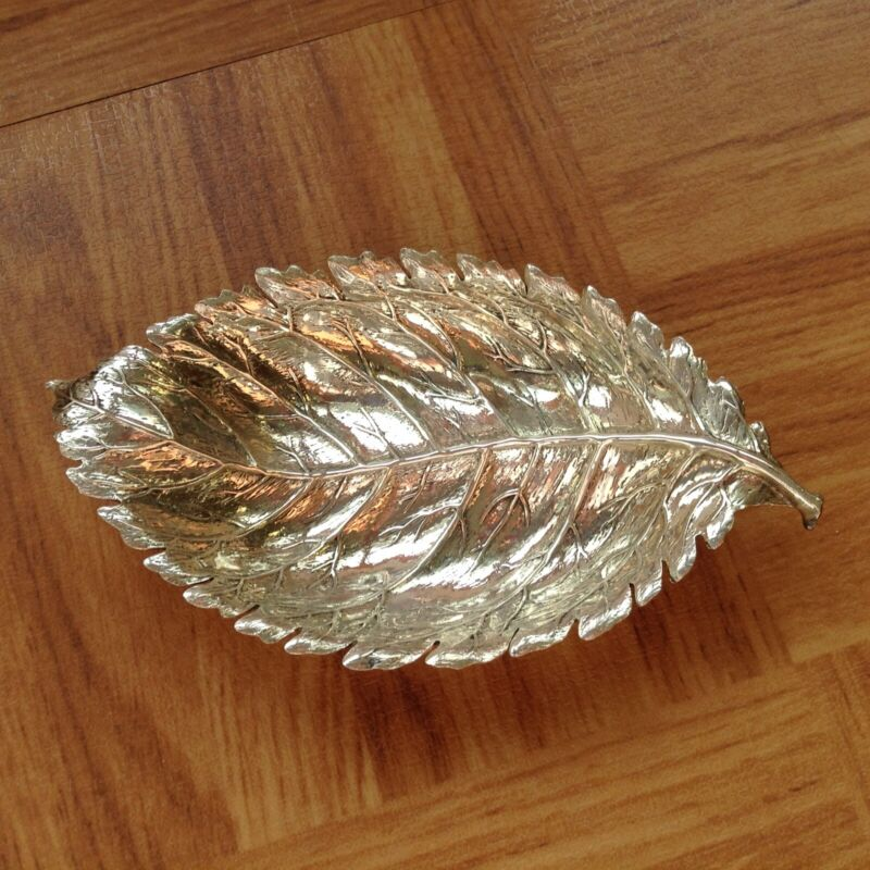 Vintage Buccellati Sterling Silver Leaf Trinket Dish, Made In Italy