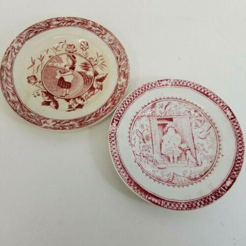 "2 Antique Child Plates 5"" Little Mae Dog Red Transferware Staffordshire 1880s"