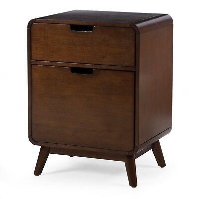Filing Cabinet 2 Drawer Legal Size Wood Office Furniture File Mid Century Decor