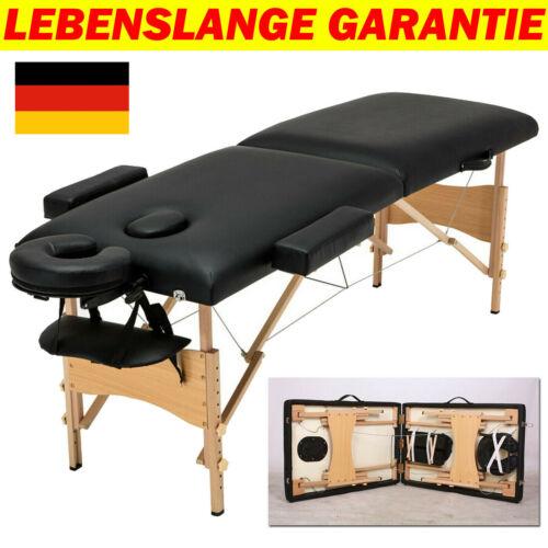 Massagetisch Massagebank Massageliege 2 Lagerungsrollen Tasche Holz schwarz DE