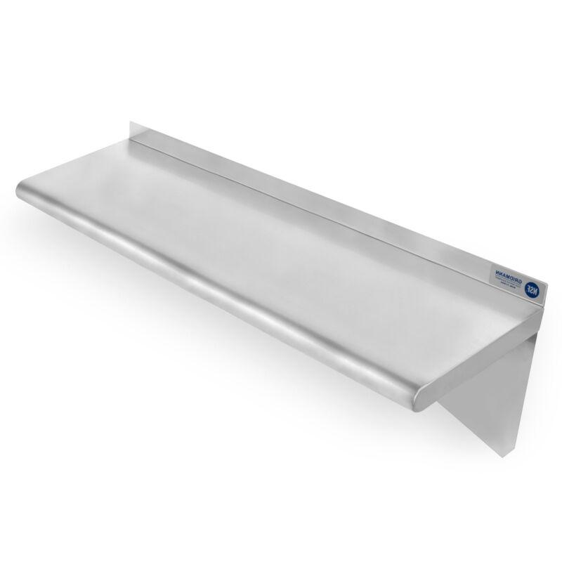 "Commercial Stainless Steel Restaurant Kitchen Shelf Wall Shelving - 12"" x 36"""