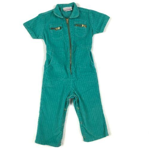 Vintage Playsuit Jumpsuit 70s Baby 12-18  Zip Montgomery Ward Corduroy Teal
