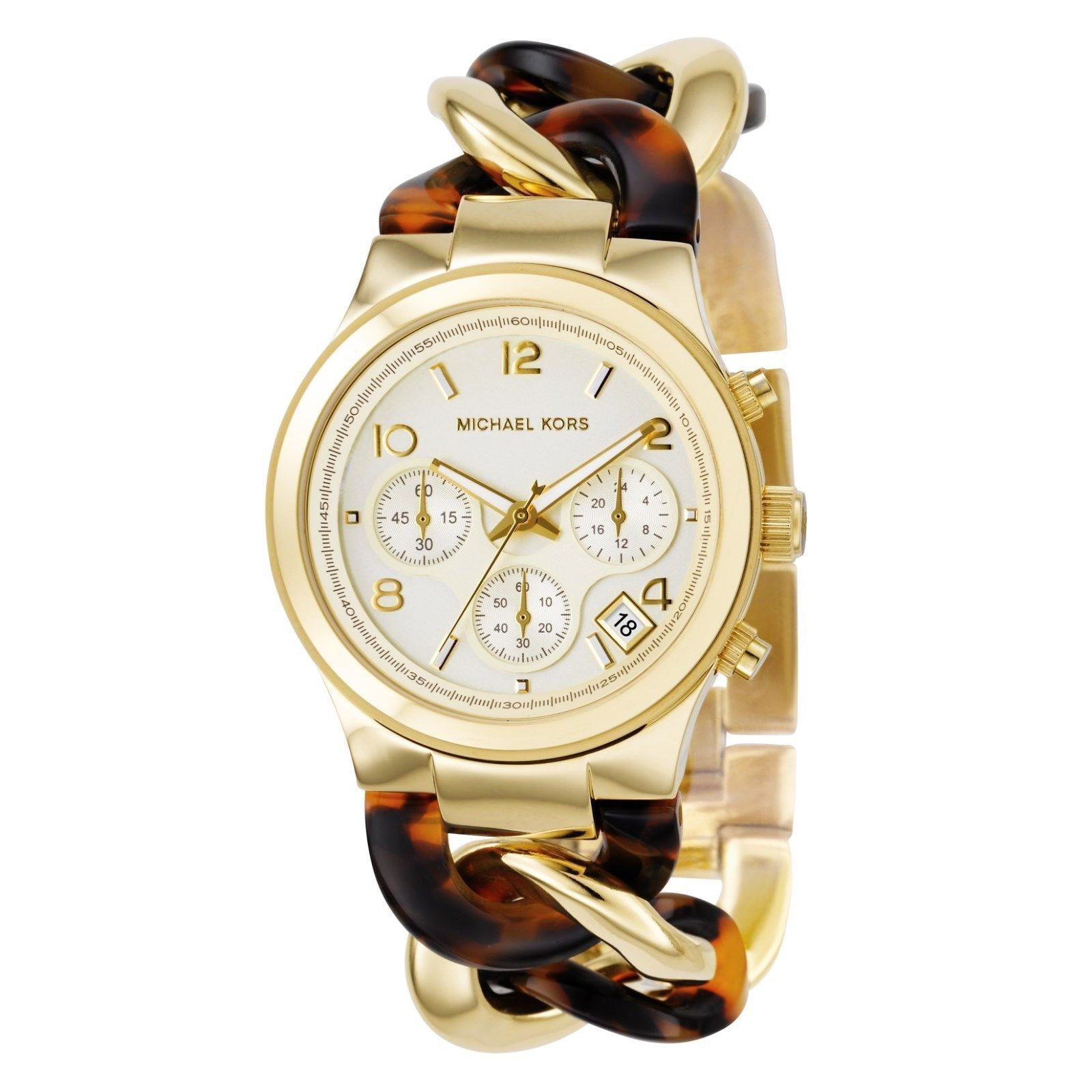 87447f7fd3a53 Michael Kors MK4222 Chain Link Acrylic Gold-Tone Ladies Watch for ...