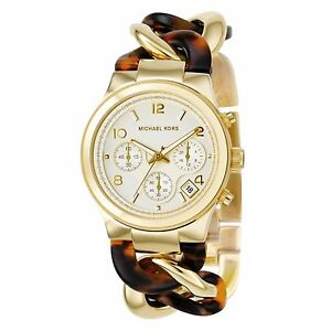 0b0ee53d78ee Michael Kors MK4222 Chain Link Acrylic Gold-Tone Ladies Watch for ...