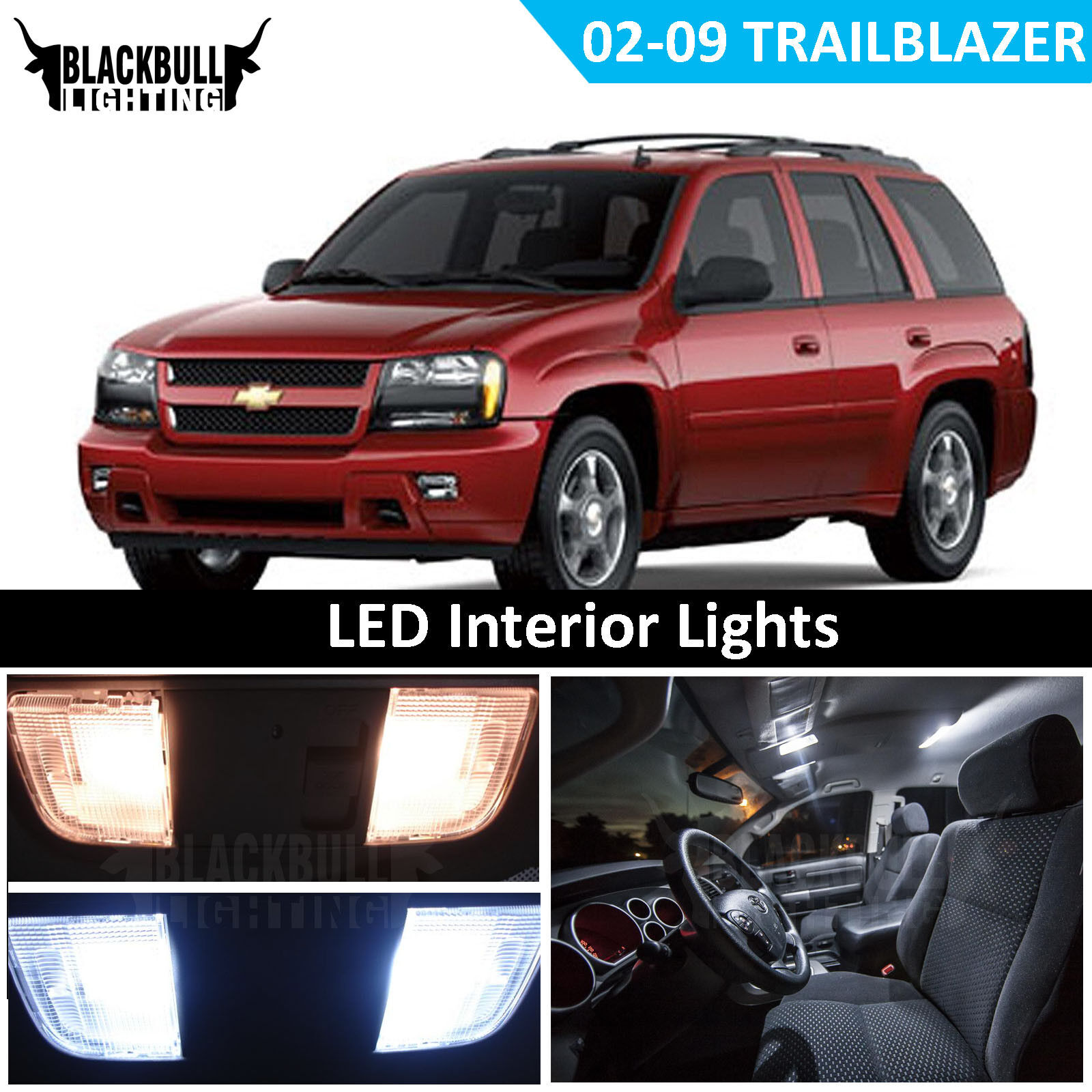 WHITE LED Interior Lights Replacement 16 Bulb Kit for 02-09 Chevy Trailblazer