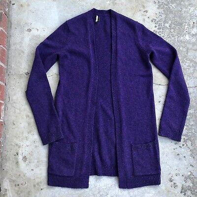 Theory Women's Wool Cardigan Sweater Open Front Purple M