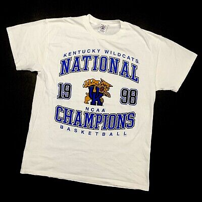 Vintage 90s T Shirt Large Kentucky Wildcats National Champions 1998 Basketball