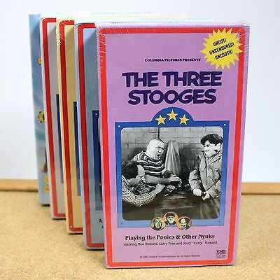 Three Stooges VHS Tape Lot Of 5 Classic Videos Brand New & Sealed