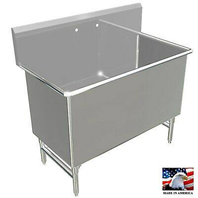 Pot Sink 48x26x24deep Tub Heavy Duty Stainless Steel 4 Legs Made In America
