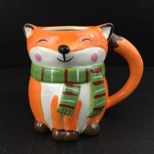 Winter Warmer FOX w/ Scarf Figural Sculpted Coffee Mug NEW