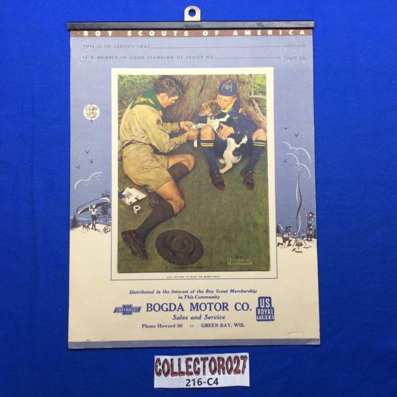 Boy Scout Norman Rockwell Friend In Need Calendar Top Bogda Motor Green Bay Wis.