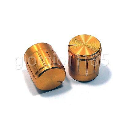 (US Stock 10x Aluminum Hi-Fi CD Volume Tone Control Potentiometer Knob 6mm Golden)