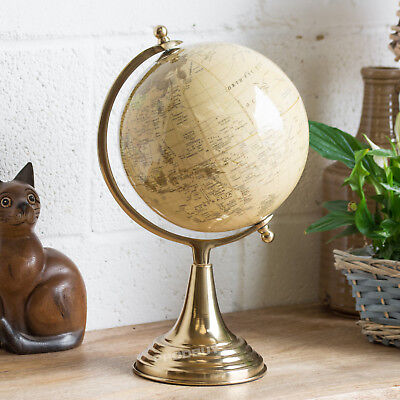 37.5cm Tall World Globe Vintage Cream Rotating Atlas Home Decor Office Ornament