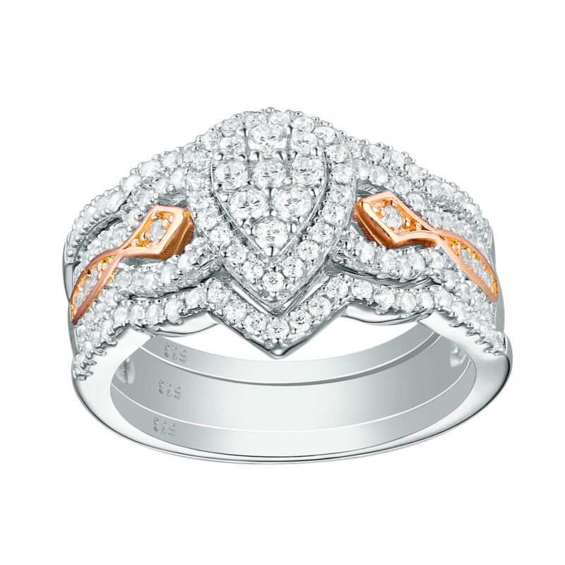 Pear Bridal Engagement Wedding Ring Set For Women Rose Gold Cz Sterling Silver