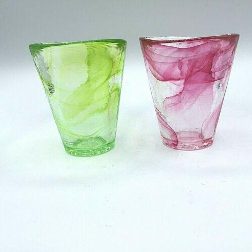 KOSTA BODA TUMBLERS by ULRICA HYDMAN VALLIEN Blown Swirl Glass 2x  Green  Red