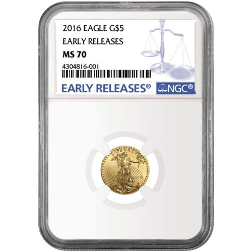 2016 Gold American Eagle Tenth Ounce ($5) MS70 ER NGC Blue Label