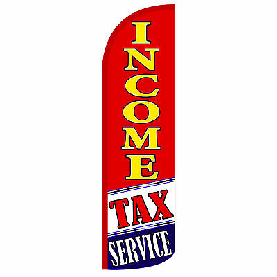 Income Tax Service Windless Swooper Feather Flag Tall Banner Sign 3 Wide Red