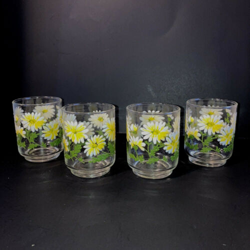 """Libbey Cooler Daisy Glasses White Yellow Green Heavily Embossed Set of 6  3"""""""