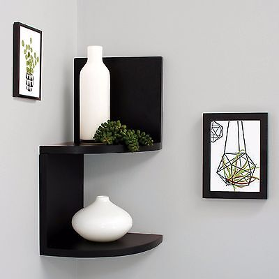 Wall Mount Shelves Display Storage Wood Floating Corner Shelf Home Decor 2 Tier
