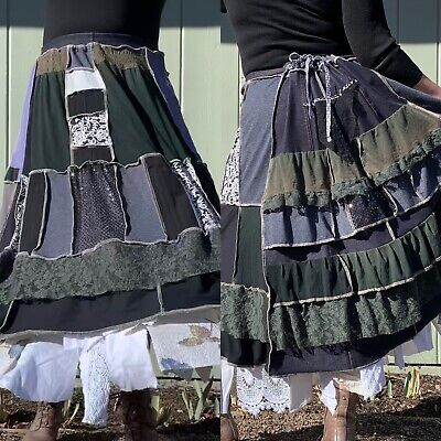 Upcycled Boho Gypsy Hippie Skirt Peasant Steampunk Patchwork Lace Ruffles S-4X