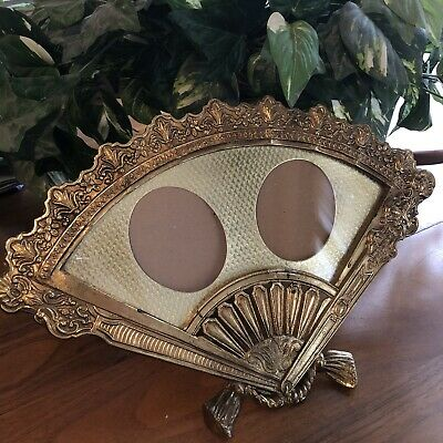 Vintage Ornate Heavy Brass Fan Shaped Picture Frame 2 Oval Photos Table Easel Fan Picture Frame