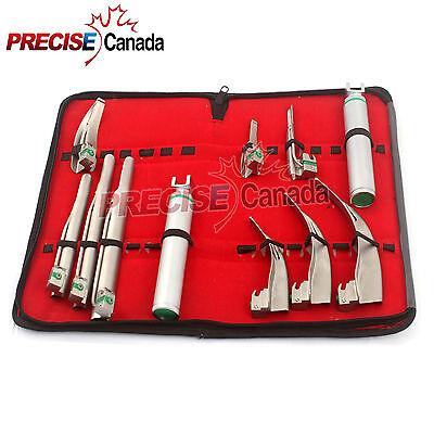 Fiberoptic Laryngoscope Mac Miller Emt Anesthesia Combo Set 9 Blades 2 Handles